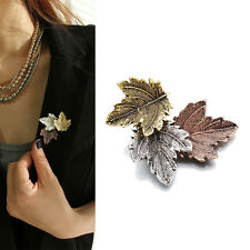 Women Vintage Maple Leaf Brooch Gold Silver Plated Brooches Pins Dance Party TSU