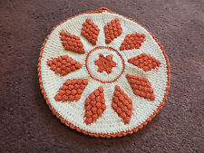 """Collectible Handmade Crocheted Pot Holder Red White Raised Design 6 1/2"""" Nice"""