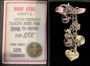 LUCKY SIXPENCE KEYRING KEEPSAKE GIFT BABY GIRL CHARMS BOXED