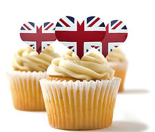 ✿ 24 Edible Rice Paper Cup Cake Topper, decorations - Union Jack heart ✿