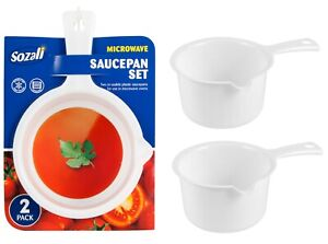2pk Microwave Saucepan Set Reusable White Plastic Serving Pot Cooking BPA Free