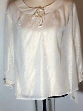 Valerie Stevens Designer Women's Petite Ivory /Gold Top Blouse Shirt Sz PXL