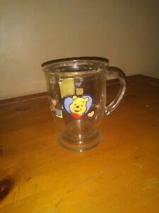 "DISNEY WINNIE THE POOH GLASS COFFEE CUP MUG  Big Hearts Deserve Big Hugs 5"" Tall"