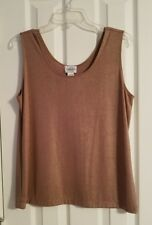 Chico's Travelers SZ 2 12-14 Brown Gold Sleeveless Top Slinky Scoop Neck Shell