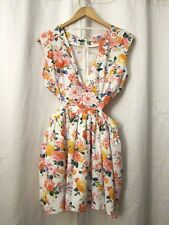 NEW Mustard Seed Wht Pink Floral Tulle Cut Out Waist Floral Mini Dress Sz L