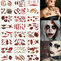 30x Halloween Zombie Scars Temporary Tattoos Wound Blood Scary Costume stickers