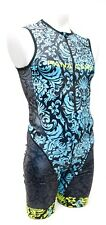 Panache Sleeveless Triathlon Skinsuit Men Small Large Blue Tribal Tri Speedsuit