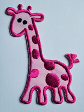 PINK GIRAFFE FOR CLOTHING KIDS Embroidery Designs Iron on Patch Free Postage