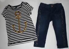 EUC Gap Kids Glam Canyon Striped Anchor Top & Embellished Cropped Jeans 6