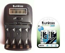 UNiROSS LCD 1-2 HOUR AA/AAA CHARGER & 4 x AA 2600 Series Rechargeable Batteries