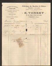 """VIERZON (18) MEUBLE & SIEGE """"E. TORSET"""" en 1910"""
