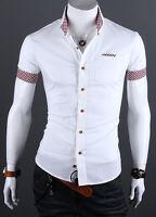 Stylish Men's Business Button Up Slim Fit Dress Shirts Short Sleeve Tops T-Shirt