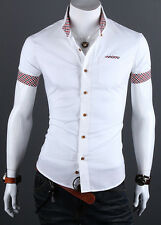 Luxury Mens Stylish Slim Fit Short Sleeve Shirt Formal Dress Casual T-shirt Tops