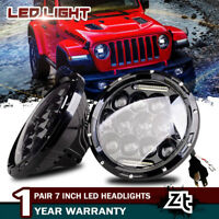 "7/"" 75W Led Dual Black Headlights Hi//Lo Beam For Jeep Wrangler TJ LJ JK CJ  97-17"