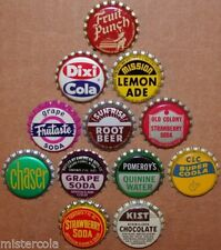 Vintage soda pop bottle caps 12 ALL DIFFERENT cork lined mix #22 new old stock