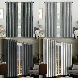 Thick Grommet Top Eyelet Drapes Ring Top Energy Saving Thermal Blackout Curtains
