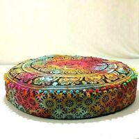 Indian Pouffe Patchwork Decorative Floor Fancy Seating 35'' Round Pillow Cover