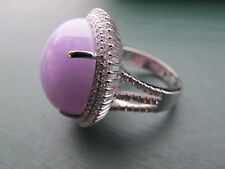 Grade A Lavender Jade , Jadeite ring with 18K white gold and diamond