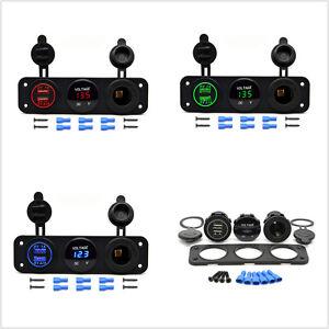 12V Dual Port USB Charger Socket Auto Car Boat LED Voltmeter 3 Hole Panel Outlet
