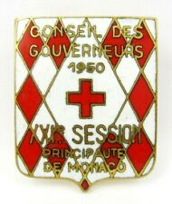 1950 Board of Governors  21st Session Monaco Principality Red Cross Badge Pin