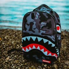 Brand New SPRAYGROUND Chenille Black Camo Shark Deluxe Bag