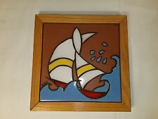 """The Betty Company Clay Tile Trivet Wall Hanging SAIL BOAT 7 1/2"""" x 7 1/2"""" Square"""