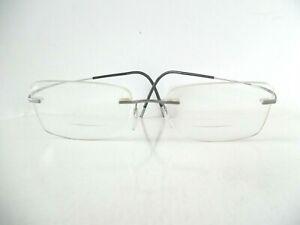 Unisex Silhouette Titan Pewter & Black Rimless Eye Glasses 7581 121 50