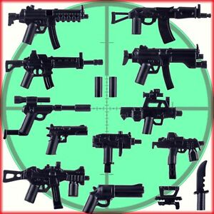 Custom Weapons MP5 Uzi QBZ + More including silencers to fit LEGO® Mini Figures