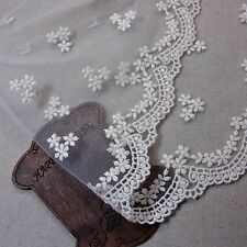 """Embroidery Mesh Net Tulle Lace Trim Ivory 14.5cm(5.7"""") Wide 1yd"""
