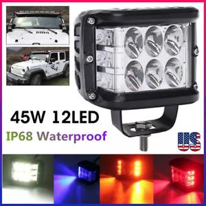 4 Inch LED Pods Work Light Bar White Amber Strobe Lamp Combo For ATV SUV TRUCK!=