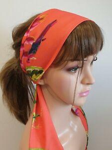 Orange jungle tie back head scarf women headband Bohemian head wrap head wear