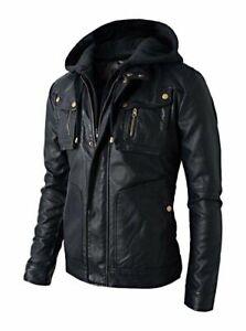 Men's Brando Double Zip Soft Genuine Leather Jacket with Detachable Hood - B2