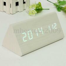 Digital LED White Triangular Wood Wooden Alarm Table Desk Clock Time Thermometer
