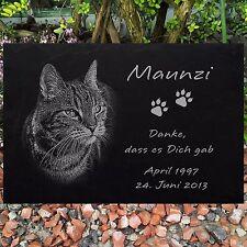 Katzen Grabstein Gedenkstein TIERGRABSTEIN Katze-022 ► Foto Gravur ◄ 30 x 20 cm