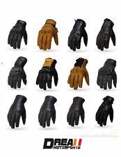 Torc Black Brown Gold Motorcycle Helmet Retro Gloves Goatskin Leather XS-2XL