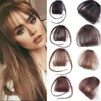 Air Bangs Remy Human Hair Extensions Clip in on Fringe Front Hairpiece Thin Neat