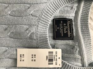 New  Abercrombie & Fitch Muscle Blue Cotton Crew Sweater