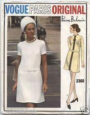 Vintage 60's VOGUE PARIS ORIGINAL 2360 PIERRE BALMAIN DRESS - Sewing Pattern B40