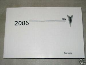 2006 PONTIAC G6 Car Owner's Manual - French