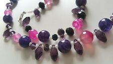 Handmade Crystal Teardrop & Agate Necklace Purples Sterling Silver Clasp 22""