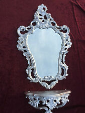Wall Console Silver+Wall Mirror Silver Baroque 50X76 Shelf Antique Table