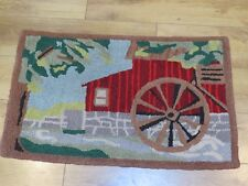 "Antique 35"" x 21"" Hand Hooked Rug of Barn/Building with a Water Wheel"