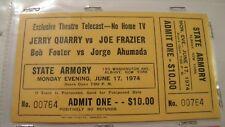 VINTAGE 1974 QUARRY VS. FRAZIER FULL TICKET STUB - THEATRE TELECAST - JUNE 17