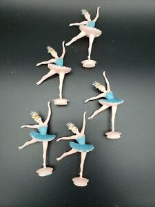 5 Vintage Ballerina Cup Cake Toppers