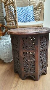Carved Anglo/Indian Octagonal Folding Side Table with Circular Top