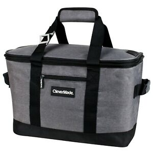 CleverMade SnapBasket Soft Sided Collapsible Cooler 30L - Heather Charcoal/Black