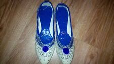 Blue  SilverNEW  ISlip on flats sequence Girls ndian shoes UK FREE POST