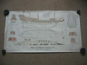 Working Plan Drawing of Model in Science Museum Elizabethan Galleon Sailing Ship