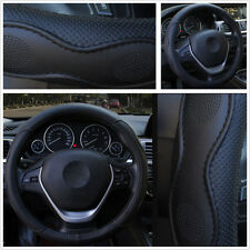 1X Fashion 38cm Black PU Leather Embossed Style Car Steering Wheel Cover Durable