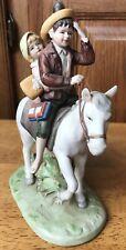 Vtg 1981 Norman Rockwell Porcelain Figurine Off To Shcool Children Horse Japan
